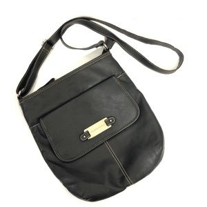 Franco Sarto black leather crossbody bag